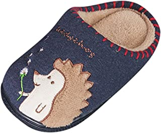 Mens Memory Foam Slippers Lazy Slippers, Baby Boys Girls Fluffy Winter Warm Home Slipper for 0-5 Years, Soft Cotton Knit House Indoor Outdoor Shoes