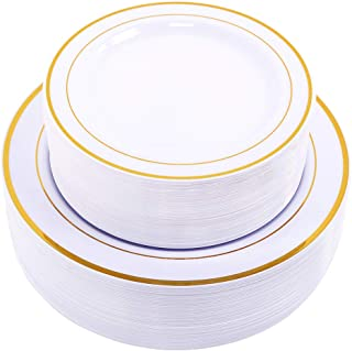 60PCS Heavyweight White with Gold Rim Wedding Party Plastic Plates,Dinnerware Sets,30-10.25inch Dinner Plates and 30-7.5in...
