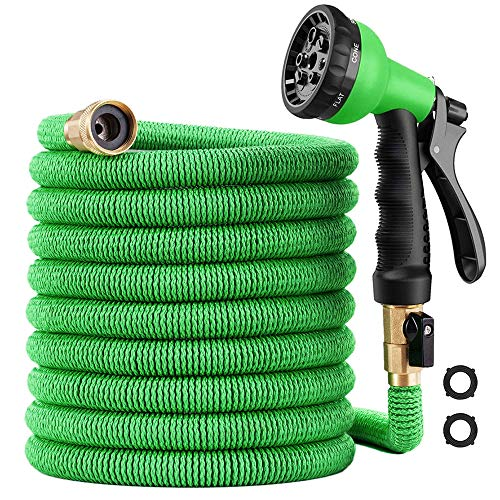 75 ft Garden Hose - Upgraded Expandable Water Hose Kit with 3/4 Solid Brass Connectors Fittings, Valve, 8 Pattern Spray Nozzle, Durable Latex Core - New Expanding Flexible Gardening Hose