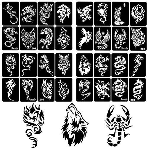 Xmasir 34 Stück Airbrush Temporäre Tattoo Schablonen Kit für Männer Arm Zurück Körperbemalung Wiederverwendbare Glitter Tattoo Aufkleber 2 Groß + 32 Klein