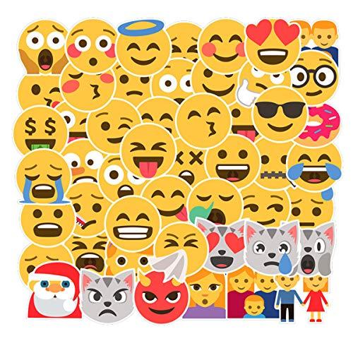 CHNLML Cool Sticker 50 Stück zufällige Musikfolie, Vinyl, Skateboard, Gitarre, Reise-Aufkleber, Tür, Laptop, Gepäck, Auto, Fahrrad (Nicht zufällig) Emoji-Stil