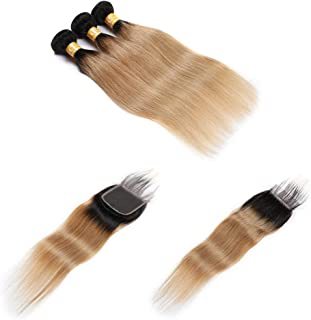 Malaysian 9A Virgin Human Hair Ombre 1b/27 Straight Hair Bundles With Lace Closure Free Part Closure With 3 Bundles Remy Hair Weft 100% Unprocessed Hair Weave Two Tone (22 24 26+20, Ombre Color 1B/27)