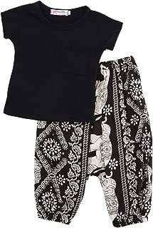 0-5T Toddler/Baby Girls Fashion Outfit Black T-Shirt + Harem Bohemian Baggy Elephant Long Pants