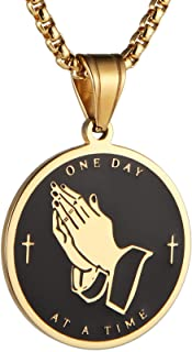 HZMAN Serenity Prayer Cross Stainless Steel Pendant Necklace Praying Hands Coin Medal