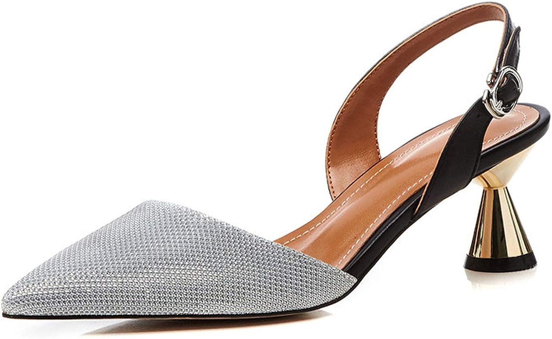 Women Med Heels Sandals shoes Women Back Strap Size34-39 Summer Causal Thin Heels Sandals