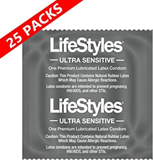 Lifestyles Ultra Sensitive Condom - Lubricated Latex Condom- (Pack of 25)