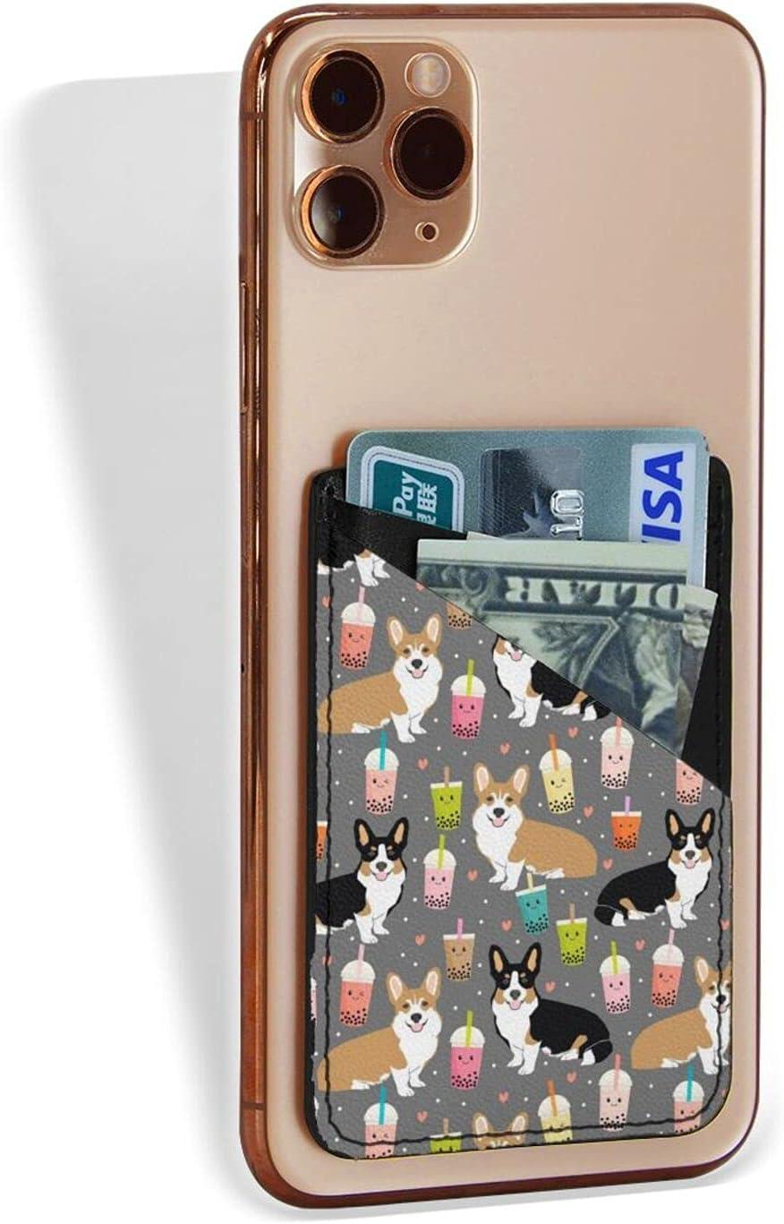 Corgi Dog & Drink Phone Card Holder, Stick on Wallet Functioning as Credit Card Holder, Jeezhub Phone Wallet and iPhone Card Holder Card Wallet for Cell Phone