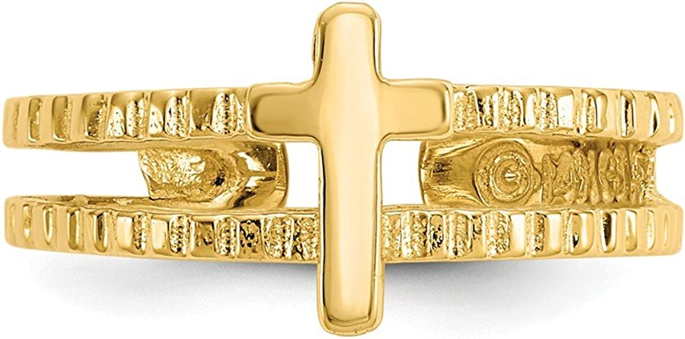 Solid 14k Yellow Gold Cross Crucifix Adjustable One Size Fits All Toe Ring (4 to 8mm)