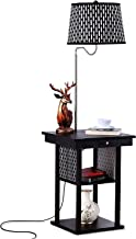 Brightech - Madison LED Floor Lamp with USB Charging Ports - Mid Century Modern Bedside Nighstand Table - End Table with Shelves for Living Room Sofas - Classic Black