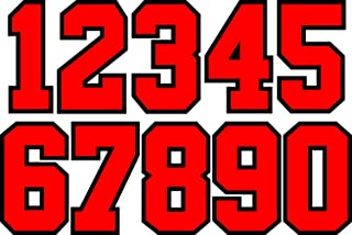 8 Inch Athletic Numbers 0-9 Team Pack Iron On Numbers for Basketball Baseball Football Soccer Jersey (red-Black)