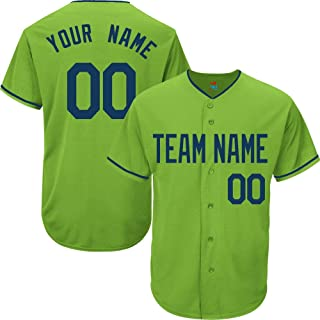 Light Green Custom Baseball Jersey for Men Women Youth Replica Embroidered Team Name & Numbers S-5XL Navy