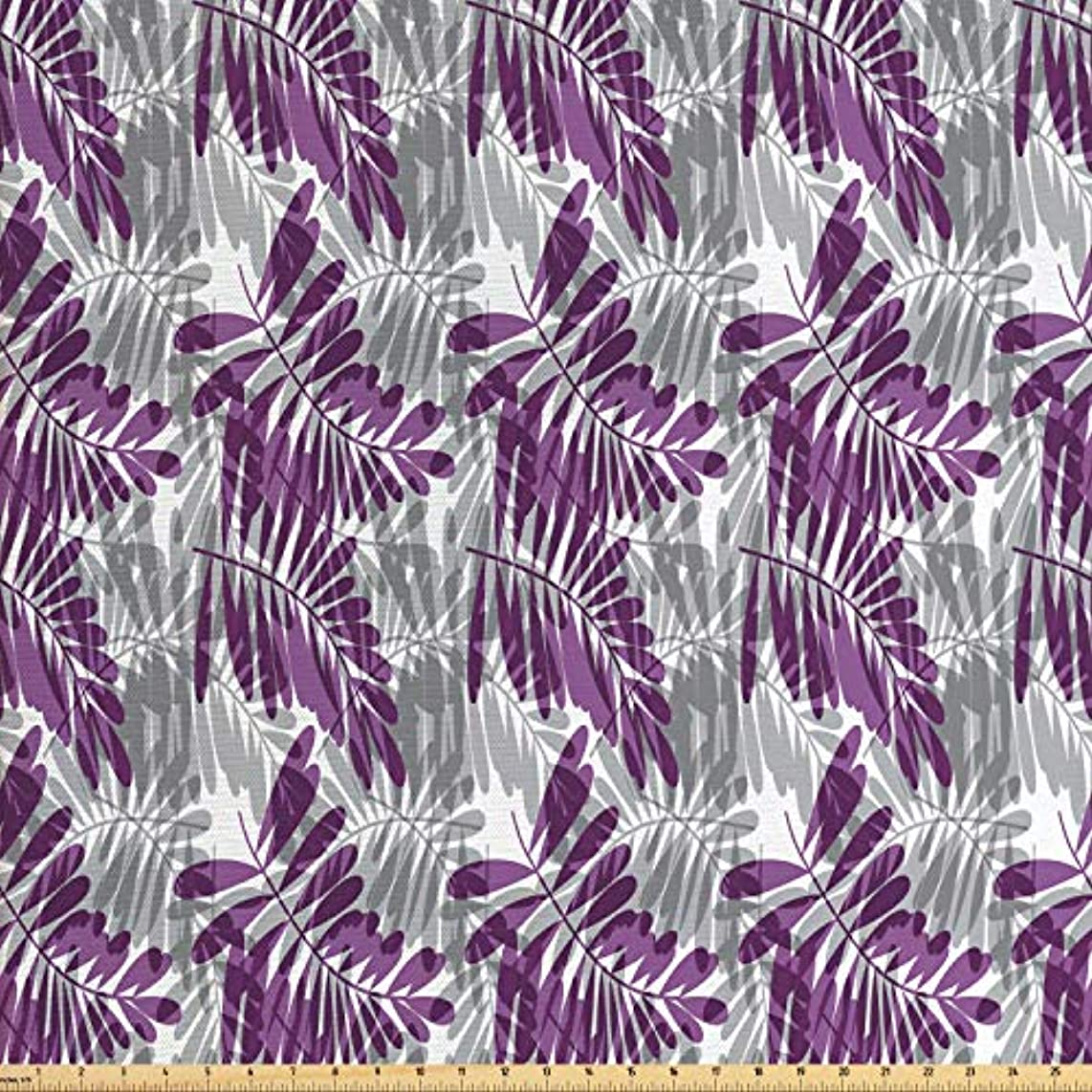 Lunarable Purple and Grey Fabric by The Yard, Exotic Forest Leaves Silhouettes Tropical Bicolor Foliage Illustration, Decorative Fabric for Upholstery and Home Accents, 1 Yard, Grey and Purple