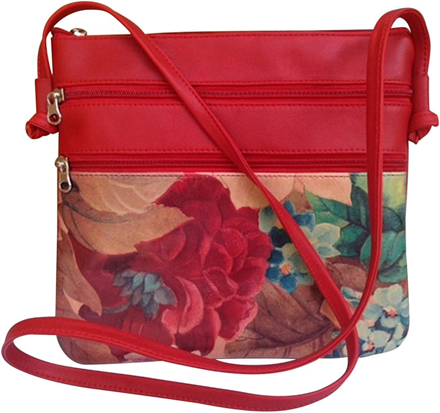 Genuine Floral Leather Crossbody Bag RedTrim  silverinian Hand Crafted