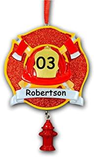Personalized Firefighter Service Member Glittered Badge Safety Helmet Fire Hydrant Decal Hanging Christmas Ornament Custom Fire Station Number Custom Name