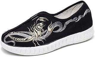 TIANRUI CROWN Zapatos de hombre Scorpio zapatos de tela bordados zapatos de lona de los hombres perezosos