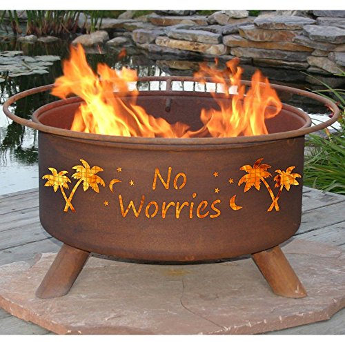 Patina ''No Worries'' 31 Inch Fire Pit with Grill and FREE Cover