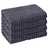 Strofinacci da cucina in cotone grigio, super assorbenti e ad asciugatura rapida, per lavare stoviglie, 32 cm x 74 cm, confezione da 4 strofinacci grigio scuro