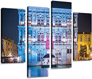 Venice Casino de Venezia Illuminated Palazzo Beside Grand Canal Italy Canvas Wall Art Hanging Paintings Modern Artwork Abstract Picture Prints Home Decoration Gift Unique Designed Framed 4 Panel