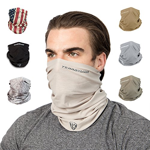 Terra Kuda Face Clothing Neck Gaiter Mask – Non Slip Light Breathable for Sun Wind Dust Bandana Balaclava (Desert Sand)