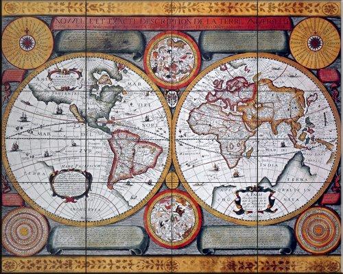 Antique Map, Terre Universelle, 1594 - Kitchen Backsplash / Bathroom Wall Tile Mural by The Tile Mural Store