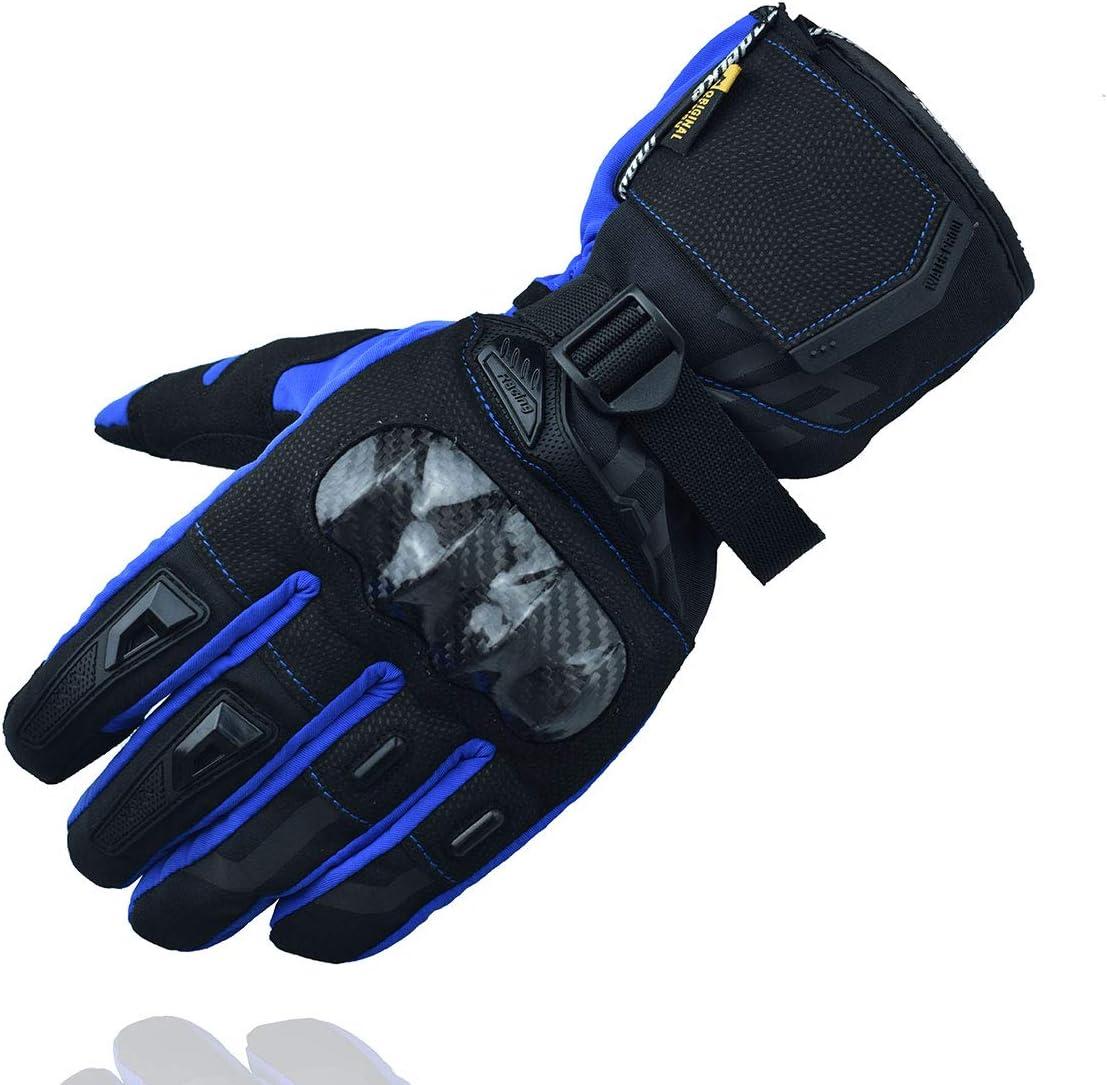 MADBIKE RACING EQUIPMENT Guantes de Moto de Invierno Guantes de Moto de protección de Fibra de Carbono con Pantalla táctil Guantes Deportivos (Azul, ...