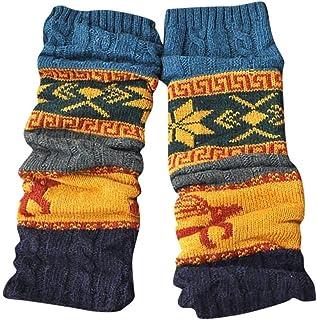 ZRDY Calcetines De Invierno For Mujer Calentadores De Piernas Calcetines Estampados Calcetines De Tubo Medio Cable De Rodilla De Punto Calcetines Extra Largos De Baile De Punto (Color : B)