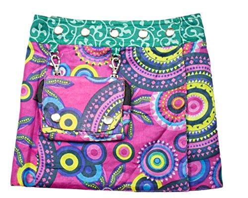 SUNSA Kinder Rock Minirock Wickelrock Wenderock Sommerrock Kinderrock aus Baumwolle, 2 optisch verschiedene Röcke mit einem abnehmbaren Täschchen, Größe ist variabel verstellbar durch Druckknöpfe