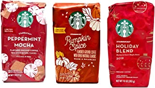 Starbucks Ground Coffee Limited Edition 2019 Seasonal Variety Pack of 3 Bags - Pumpkin Spice, Peppermint Mocha, and Holiday Blend - Arabica Coffee