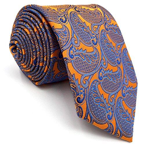 shlax&wing Clásico Hombre único Seda Corbatas Para Amarillo Cachemir Extra largo