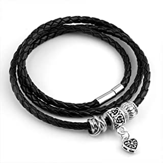 AmaranTeen - 925 Silver Charm Fit Pandora Bracelet Leather