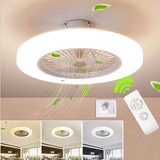 SJUN Ventilador de techo Lámpara de techo, moderna LED Ventilador De Techo Control remoto de correa regulable Decoración de interiores Plafón de techo lluminación [Clase de eficiencia energética A]