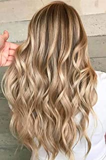 RUNATURE Good Quality Clip In Hair Extensions Double Weft Hair Extensions One Piece Clip Ins Golden Brown Highlighted with Light Golden Brown 10 Inch 70grams V Shape Clip In Human Hair