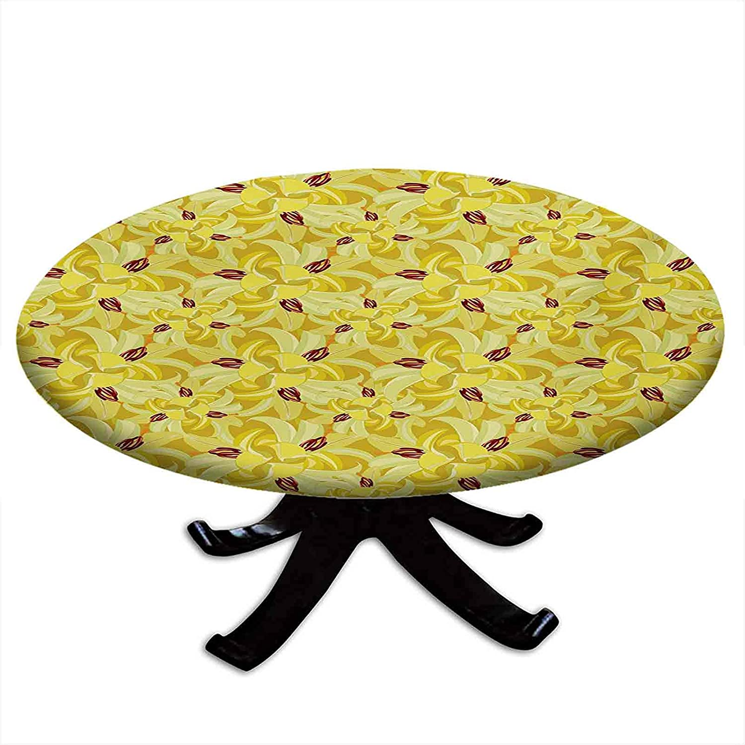 Round Fitted Floral Outstanding Tablecloth Max 58% OFF Exotic Haw Flowers Lily Tropical