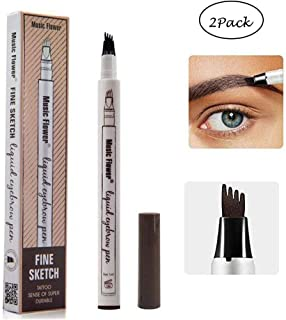 2 Pack Eyebrow Tattoo Pen-LilyAngel Waterproof Microblading Eyebrow Pencil with a Micro-Fork Tip Applicator Creates Natural Looking Brows Effortlessly(Chestnut)