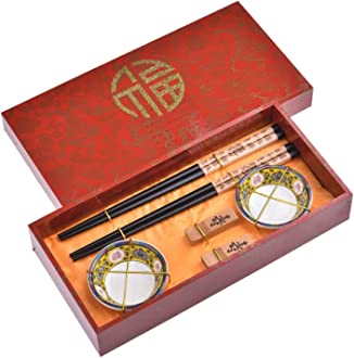 Mod 2 pairs of chopsticks 2 ceramic bowls in gift box I/_S2-B-W-02 Quantum Abacus Elegant Chopstick Set Chinese Spring made of carved wood 2 chopstick rests