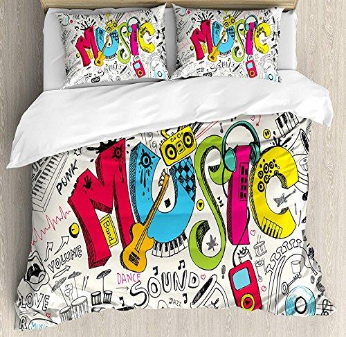 Mehom Musik-Bettbezug-Set, Pop-Art-Design, Musik-Hintergrund mit Instrumenten, Sound-Illustration, dekorativ, 4-teilig, mehrfarbig, Polyester-Mischgewebe, mehrfarbig, Einzelbett