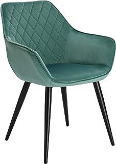 WOLTU Esszimmerstühle BH153ts-1 1x Küchenstuhl Wohnzimmerstuhl Polsterstuhl mit Armlehen Design Stuhl Samt Metall Türkis