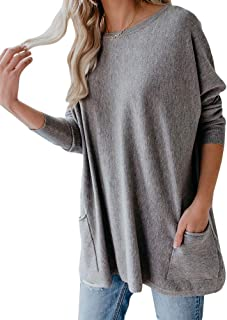 Womens Long Sleeve Tunic Top Batwing Oversized Casual Baggy Sweater with Pockets