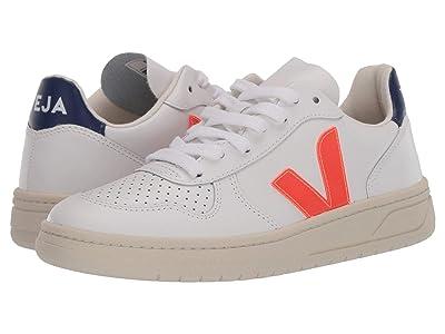 VEJA V-10 (Extra White/Orange Fluo/Cobalt) Athletic Shoes