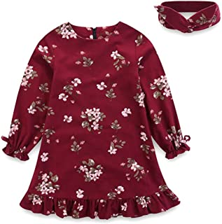 Baby Teen Girls Casual Floral Princess Dress Headband Set Long Sleeves Blue Claret 1-7T