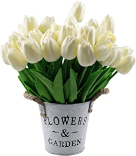 Foraineam 30 Pcs Fake Tulip Flowers Real Touch Tulip Artificial Flower for Home Office Wedding Party Festival Decor (Off White)