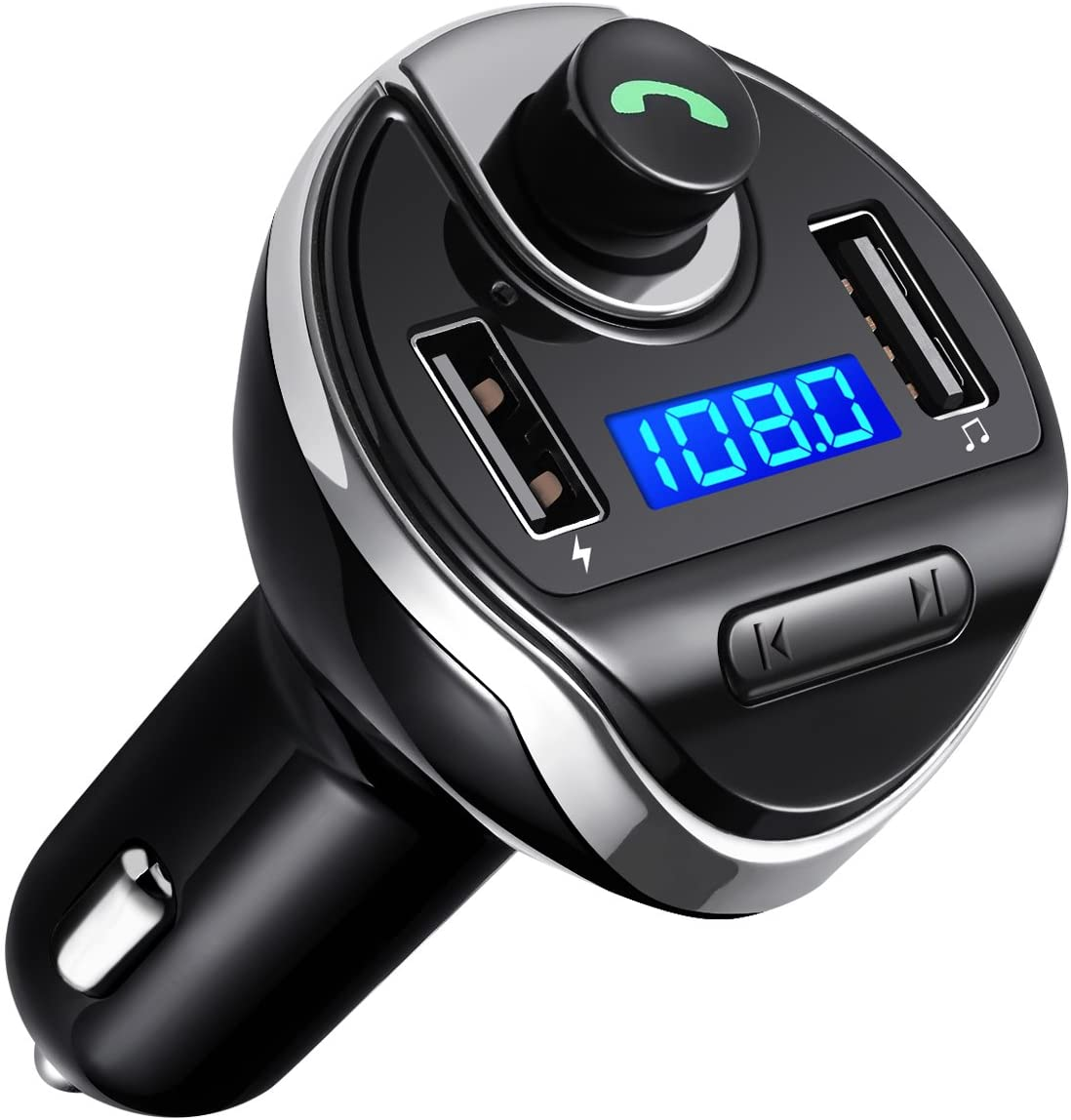 Criacr (Upgraded Version) Bluetooth FM Transmitter for Car, Dual USB Charging Ports & HI-FI Stereo Sound Wireless Radio Adapter Music Player Kit with Hands-Free Calling, Compatible for All Smartphones