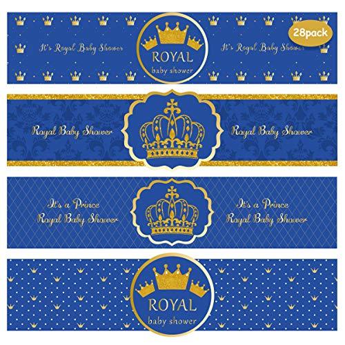 Kreatwow Royal Prince Baby Shower Wasserflasche Etiketten Wrapper für einen Jungen Royal Blue und Gold Dekorationen Partyzubehör 28er Pack
