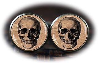 Paire De Boutons De Manchette Crane Tete De Mort Skull