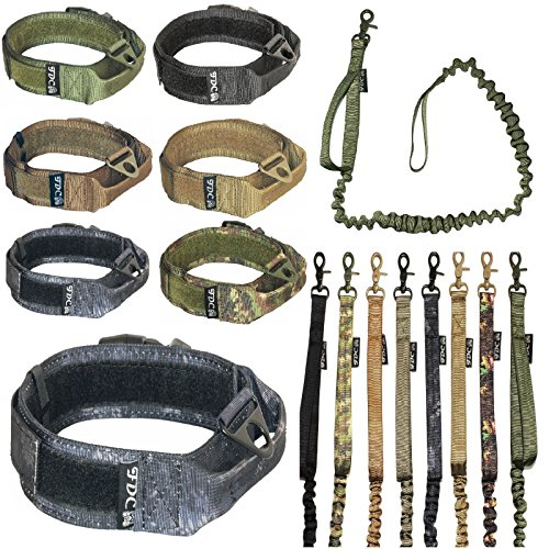 "FDC Dog Tactical Collar with Leash Bungee Handle Heavy Duty Training Military Army Molle Width 1.5in Plastic Buckle Hook & Loop (L: Neck 12"" - 14"", Kryptek Typhon)"