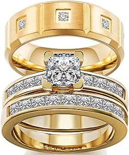 ringheart Couple Rings Yellow Gold Filled Princess Cut 66mm Cz Womens Wedding Ring Sets 8mm Titanium Men's Wedding Band(Pl...