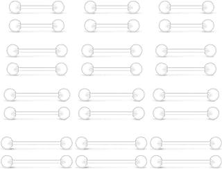 LAURITAMI 24pcs Piercing Lingua Retainer Bilanciere Dritto 12/14/16/19 mm Sfere 14G Acrilico Bioflex Gioielli per Il Orecchio