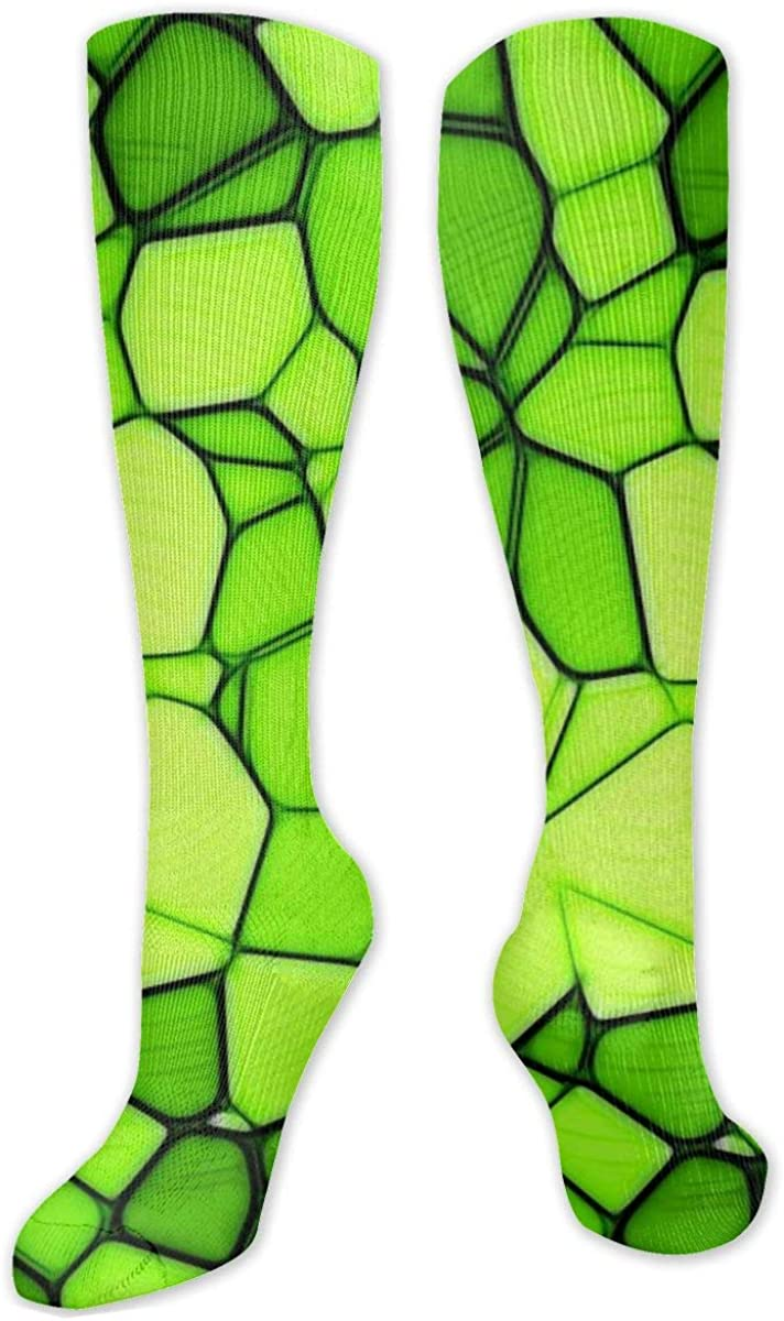 Squares Triangles Green Texture Knee High Socks Leg Warmer Dresses Long Boot Stockings For Womens Cosplay Daily Wear