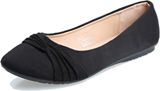 Women's Faux Suede Ballet Flats,Slip on Blackest Round Toe Dress Shoes US Size 9.5