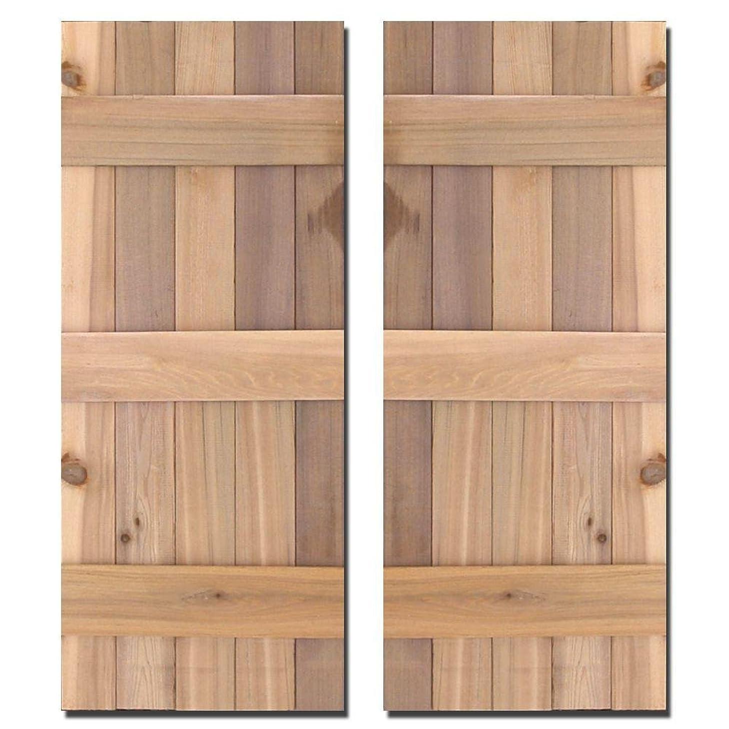 Design Craft MIllworks 15 in. x 52 in. Natural Cedar Board-N-Batten Baton Shutters Pair